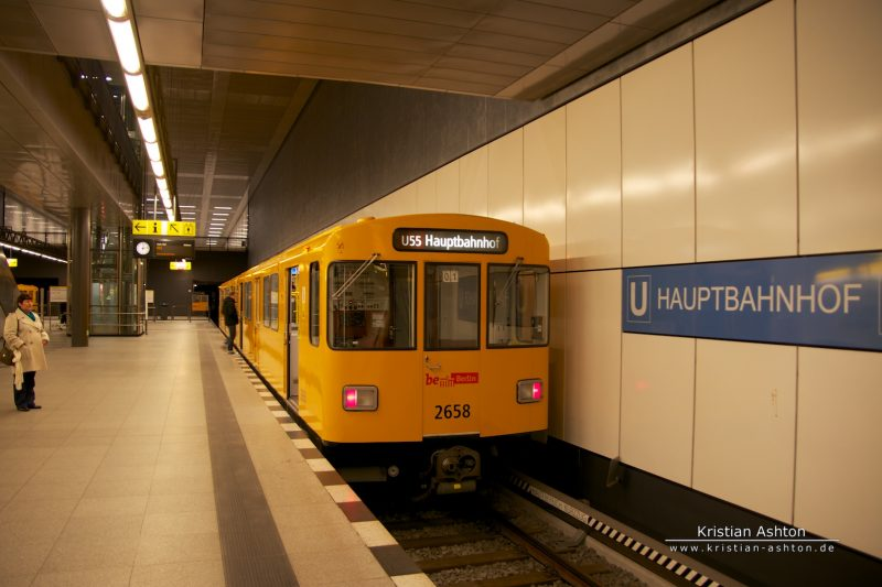 The underground line U55 from Berlin main station to the Brandenburg Gate