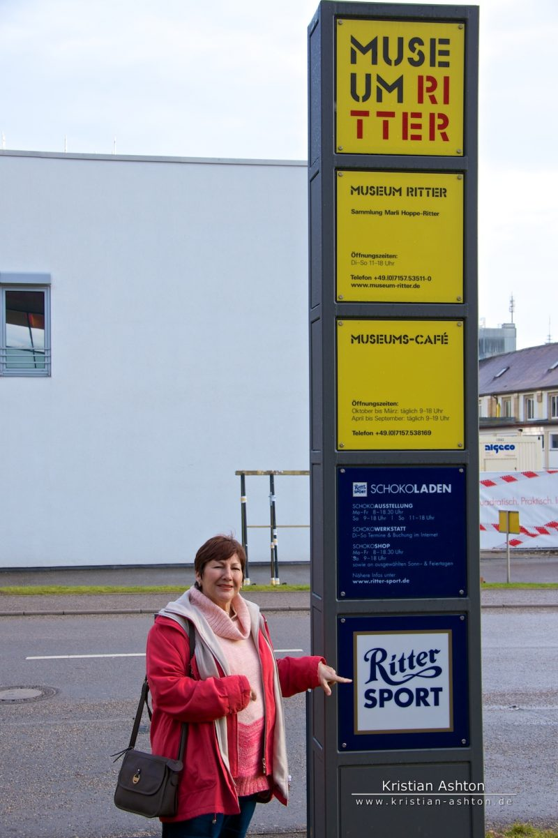 "Mum at the entrance to the Ritter Sport ""Schokoladen"" factory outlet and museum"