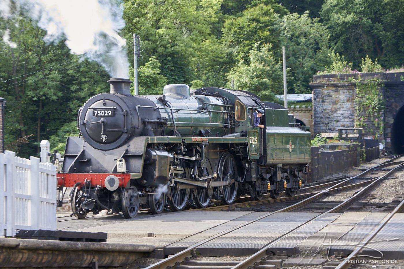 "Grosmont station - North Yorkshire Moors Railway - 4-6-0 steam loco No. 75029 ""The Green Knight"""