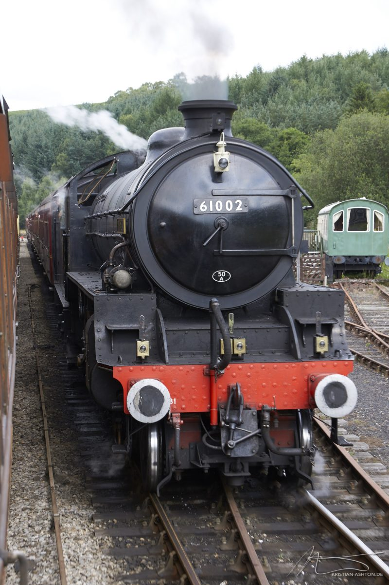 "North Yorkshire Moors Railway - passing of 4-6-0 steam loco No. 61002 ""Impala"""