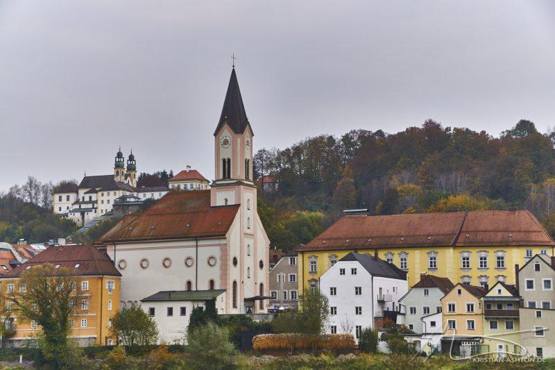 Inn promenade looking towards Innstadt and the pilgrimage church Mariahilf