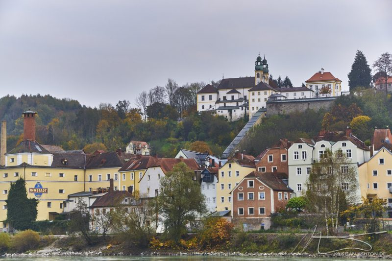 Inn quay looking towards Innstadt and the pilgrimage church Mariahilf