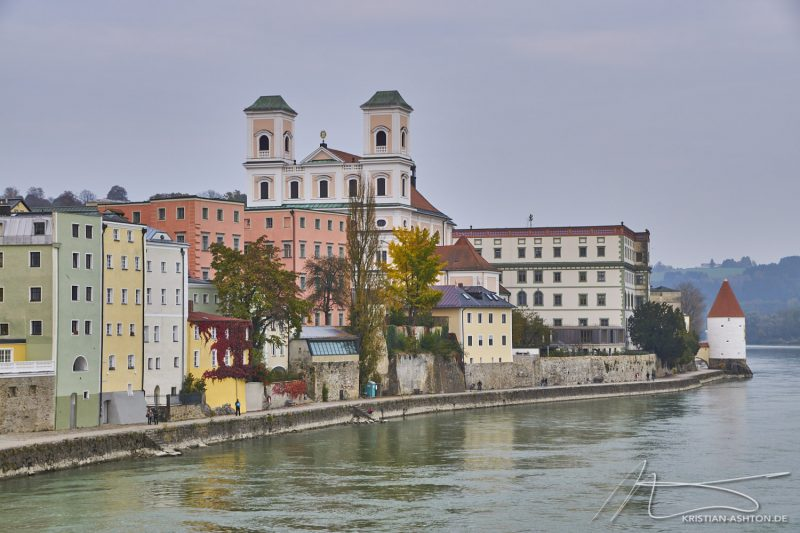 "Marienbrücke bridge looking along the Inn quay towards the ""three rivers corner"""