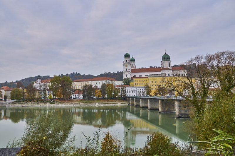 Innstadt looking over the river Inn towards the Altstadt (old part of the city)