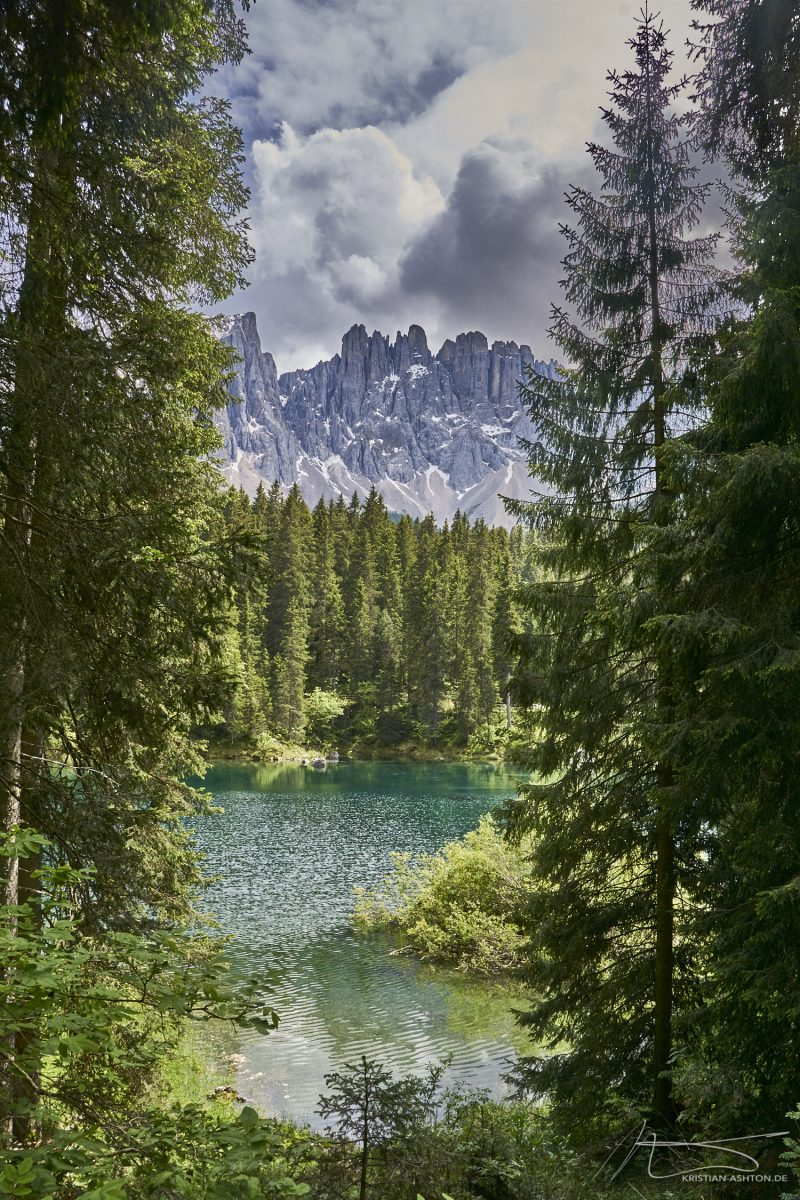 Lake Carezza in front of the Latemar