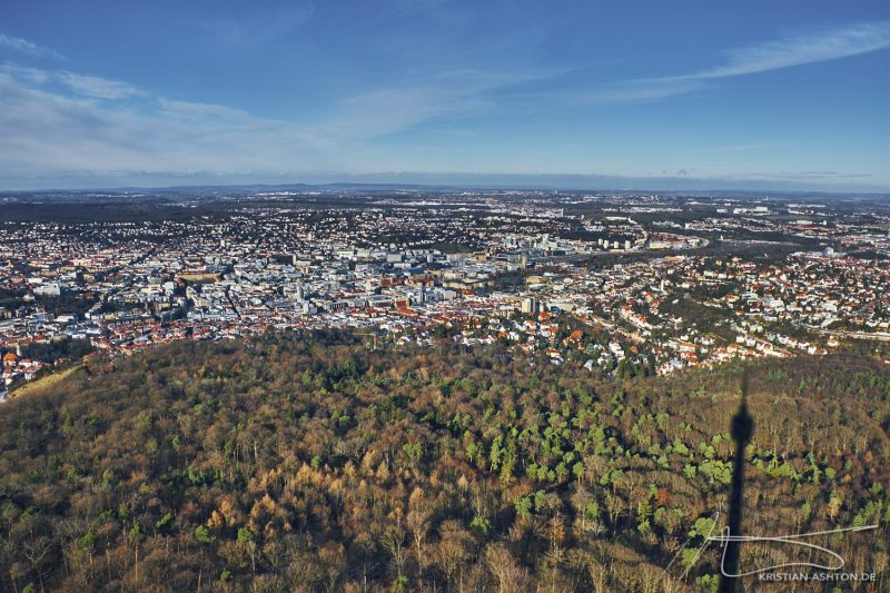 View across Stuttgart from the television tower