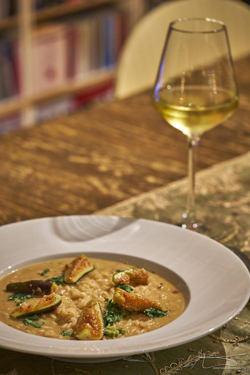 Espresso risotto with taleggio and honey-figs