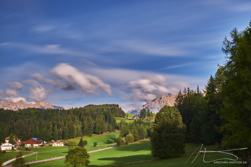 View from our forest chalet of the Rosengarten and Latemar
