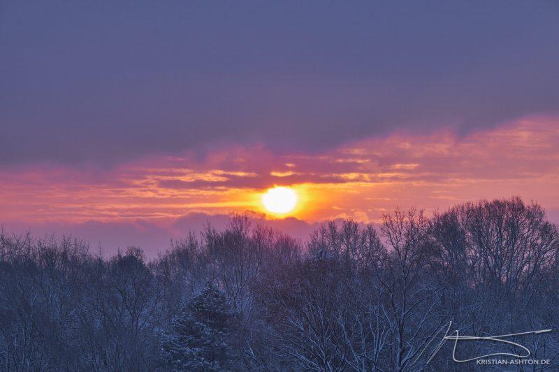 Wintery sunrise over Stuttgart-Sillenbuch