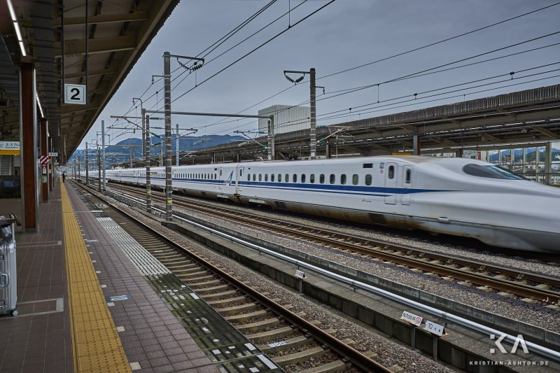 Shin-Fuji station - a JR West Shinkansen train of series N700 Advanced