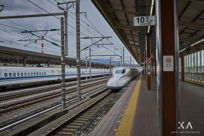Shin-Fuji station - our JR West Shinkansen train of series N700 Advanced to Kyoto