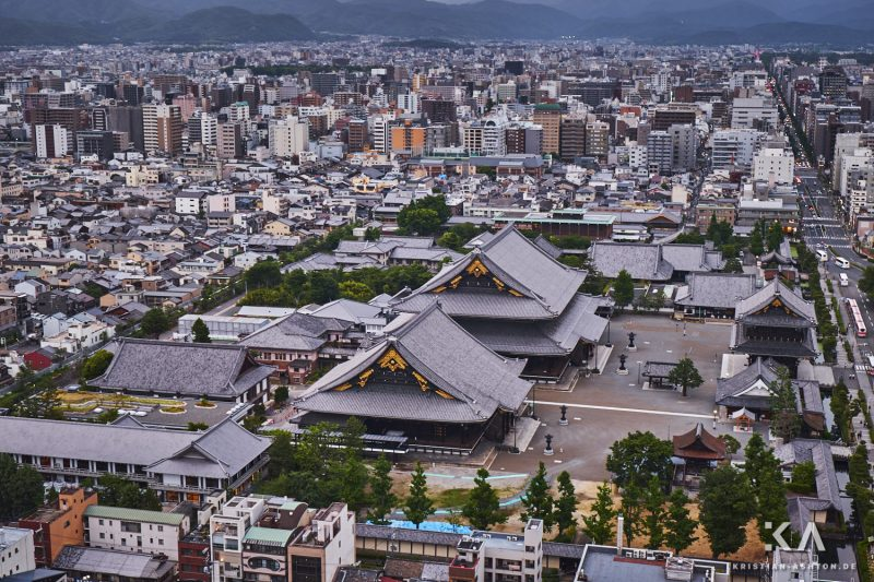 View of Nishi Hongan-ji temple from Kyoto Tower