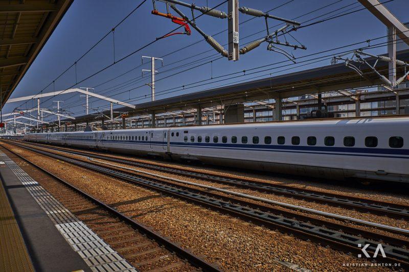 Himeji station - the fantastic Shinkansen trains (here series N700 Advanced) of the Japanese railways