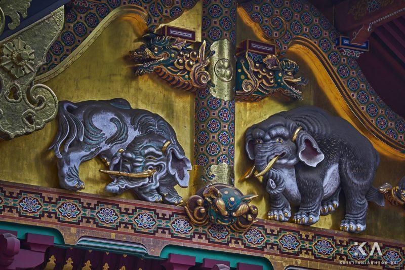 Sanjinko - elephant carvings one of the three sacred warehouses of the Toshogu shrine site