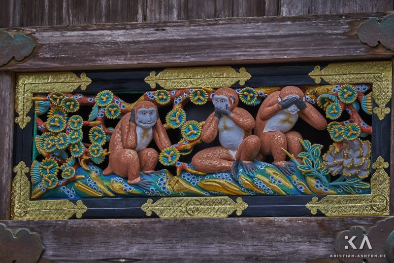 Shinkyusha - the sacred stable with wood carvings of the three monkeys of Nikko
