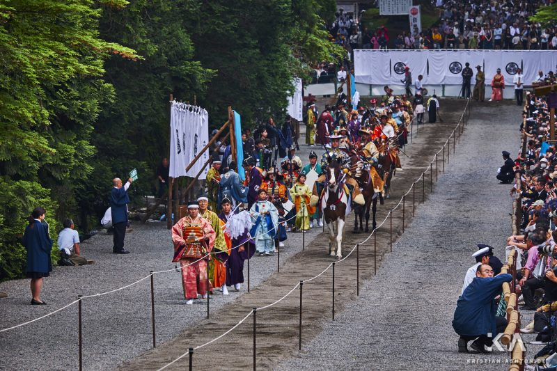 In front of the Toshogu shrine site - twice a year a competition is held here with archers on horseback!