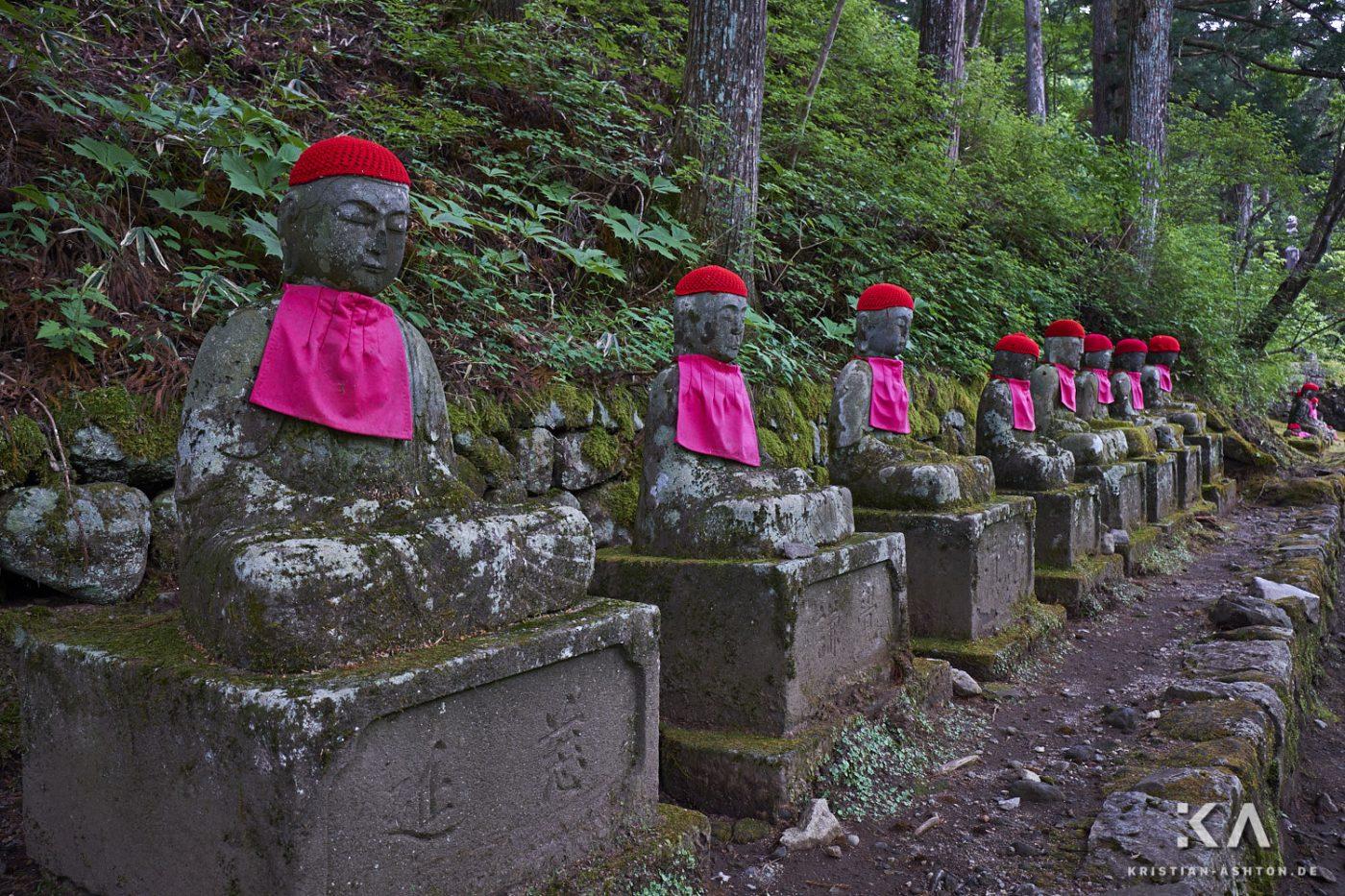 Jizo statues along the way to the Kanman-ga-fuchi Abyss