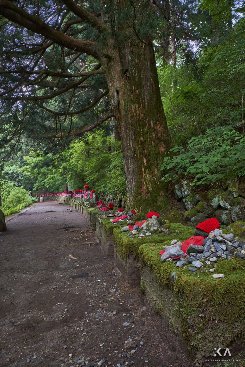 Jizo statues along the way to the Kanman-ga-fuchi Abyss