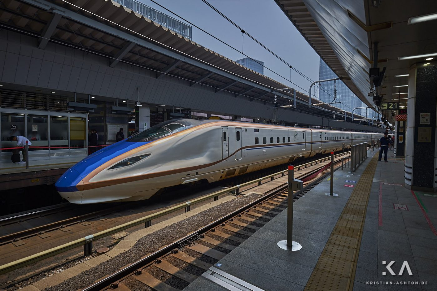 Tokyo station - a JR West Shinkansen train of series W7