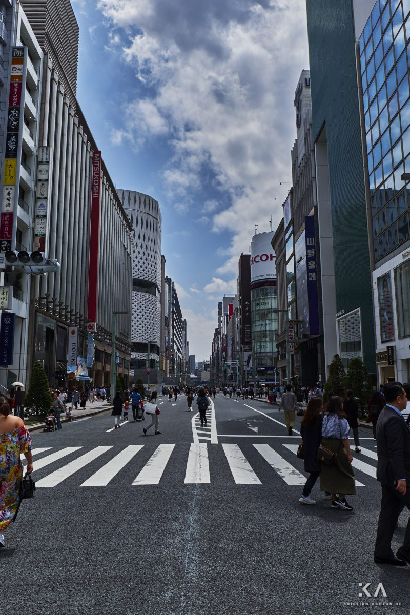 During the daytime on weekends, the Chuo Dori Street is transformed into a giant pedestrian mall