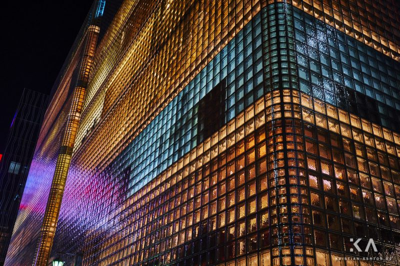 The beautifully impressive Hermes building in Ginza, with its facade of glass bricks