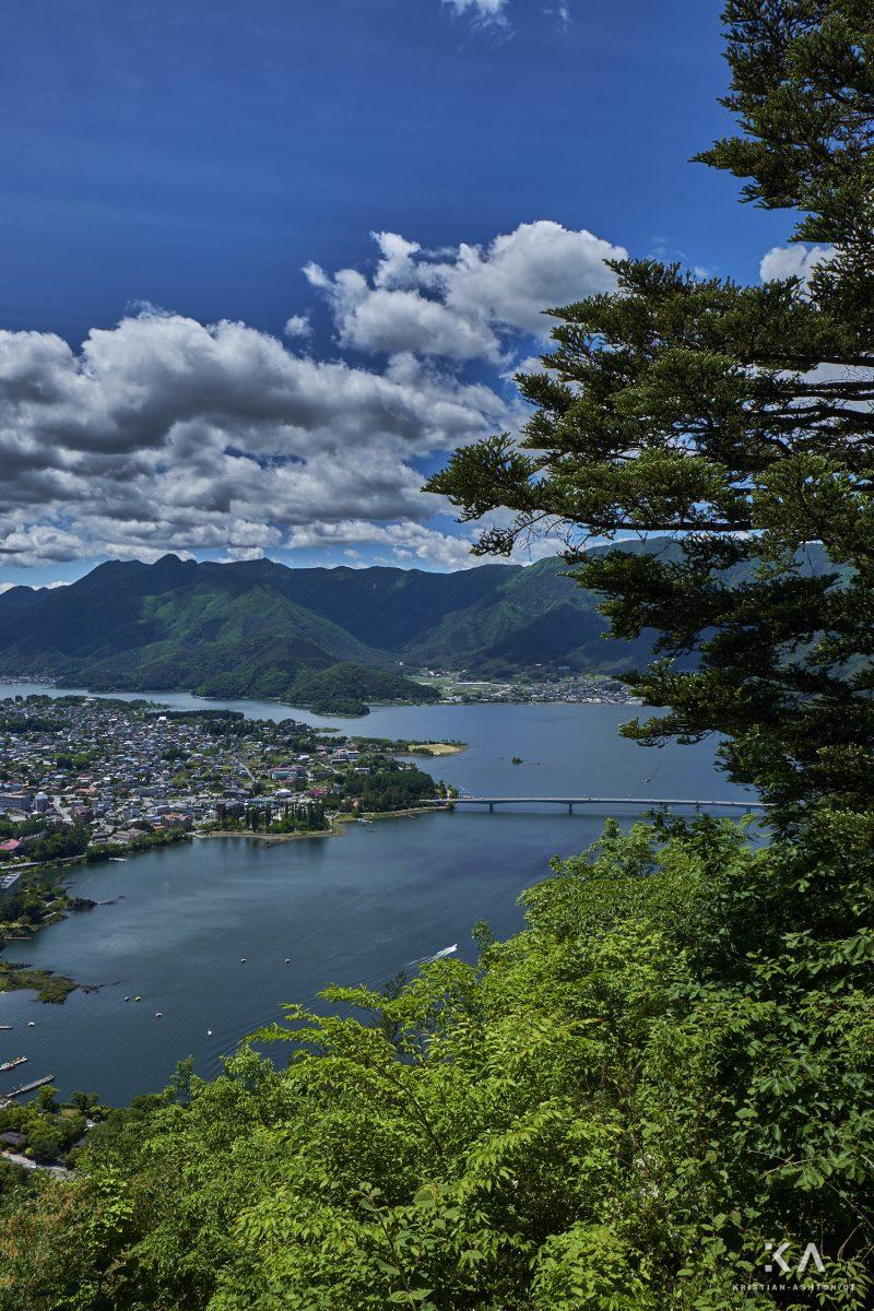 View across Lake Kawaguchiko from Tenjozan Park