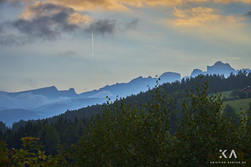 Misty morning view towards the Rosengarten