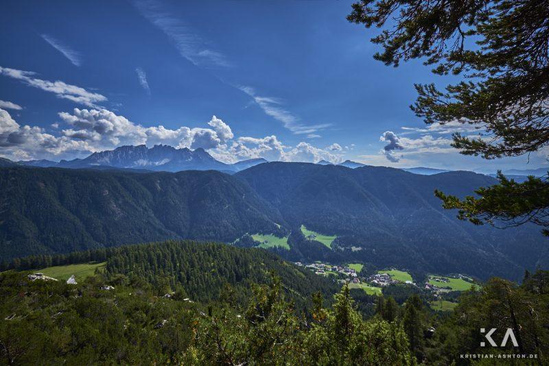 Hike from guesthouse Schönblick to the mountain summit Völseggspitze - view of the Rosengarten