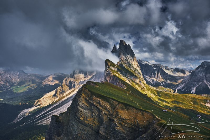 View of the wonderful mountain Seceda