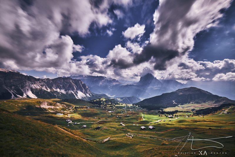 View towards Gardena Pass from the mountain Seceda
