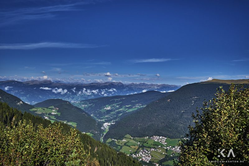 View down to St. Ulrich from Seiser Alm