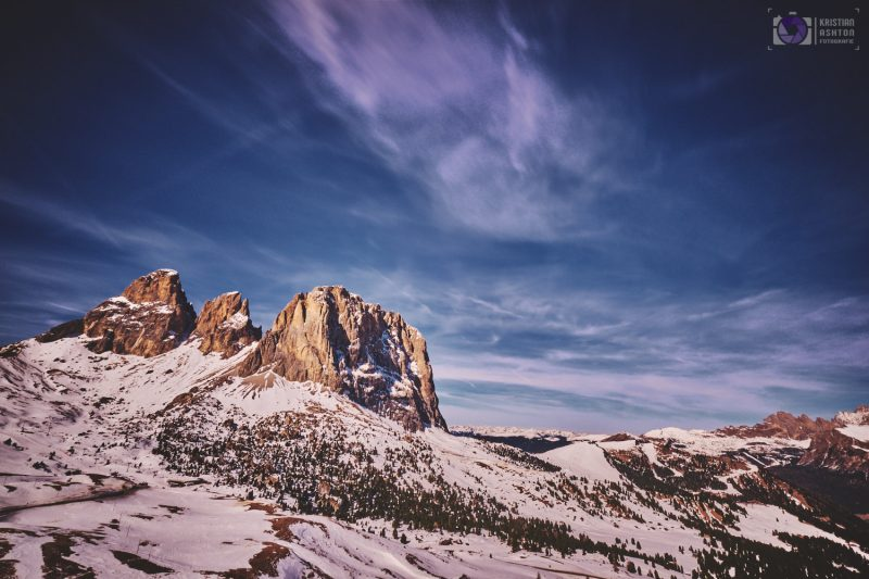 View of the Sella group of mountains from Sella pass